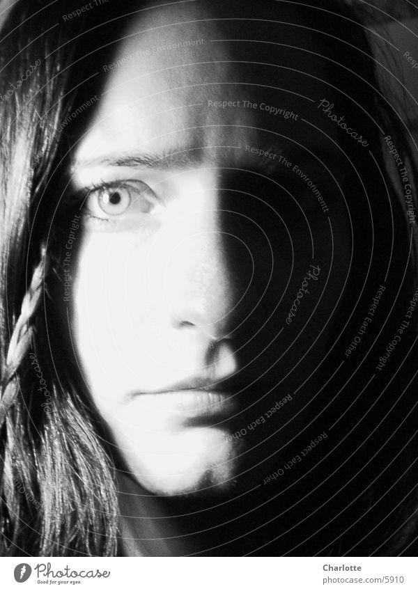 portrait Woman Close-up Earnest Black & white photo Eyes