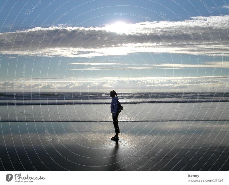 Water Sky Sun Ocean Beach Clouds Sand Waves Horizon USA Americas Dusk Pacific Ocean Oregon Cannon Beach