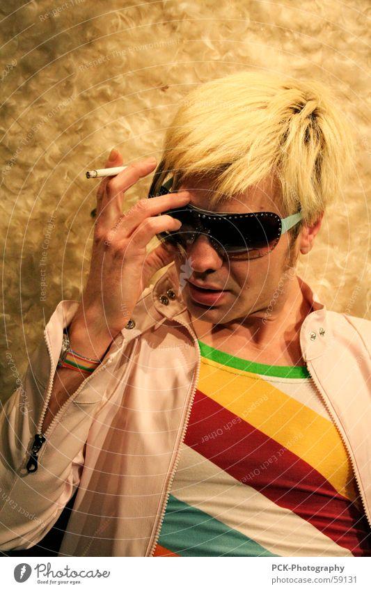Human being Man Face Style Think Blonde Model Eyeglasses Posture Smoking Cigarette Sunglasses Photo shoot Stop short Pop star Smoky