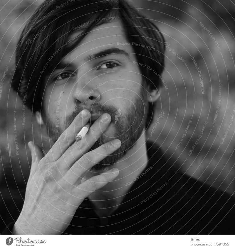 John Human being Masculine Young man Youth (Young adults) 1 18 - 30 years Adults Hair and hairstyles Facial hair Beard Observe Smoking Looking Watchfulness