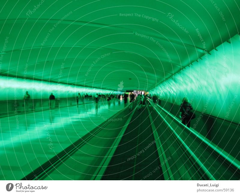 ray_tunnel Light Tunnel Radiation Future Green Neon light Moving pavement Escalator Speed Haste Moody Perspective space Reaction Human being Town Airport Target