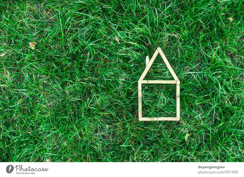 Model house made of wooden stick House (Residential Structure) Garden Business Nature Autumn Grass Building Architecture Dream Authentic Small Clean Green White