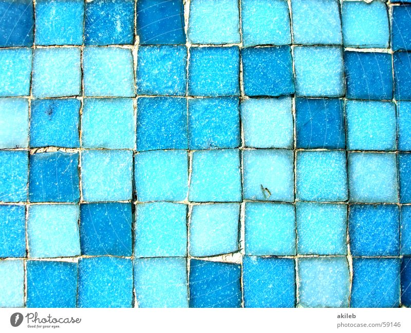 Mosaic (3) Light blue Exterior shot Wall (building) Glittering Square Reflection Craft (trade) Tile Cool (slang) Blue Close-up Structures and shapes Perspective