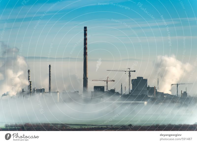 Factory chimneys and clouds Industry Technology Environment Nature Plant Air Sky Clouds Climate Fog Town Chimney Dirty Blue White Energy Environmental pollution