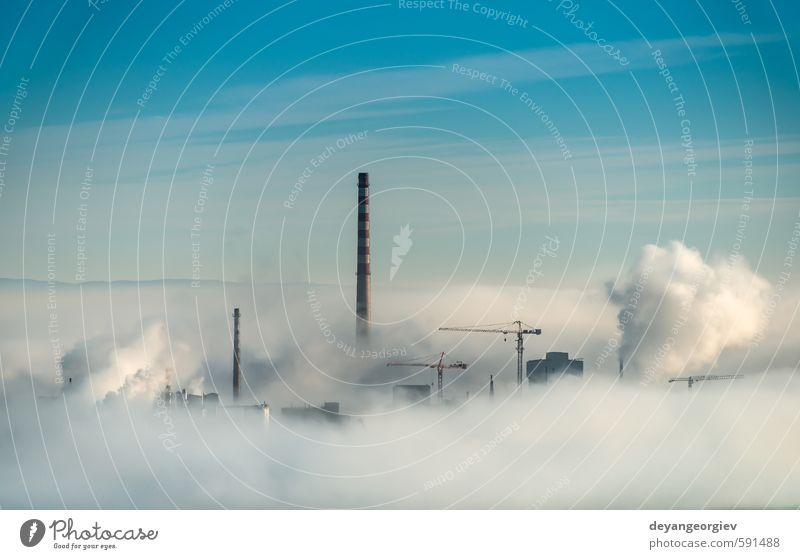 Factory chimneys and clouds of steam Sky Nature Blue City White Plant Clouds Environment Air Dirty Fog Climate Energy Technology Industry