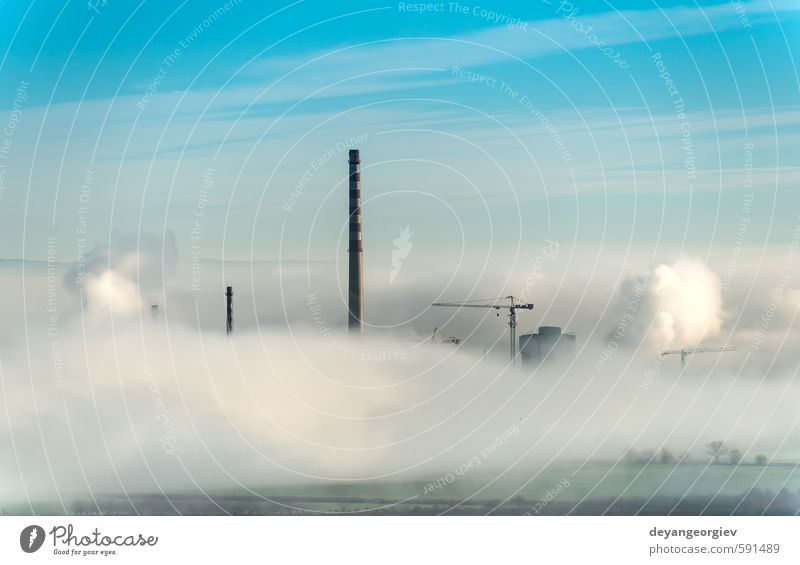 Factory chimneys and clouds of steam Industry Technology Environment Nature Plant Air Sky Clouds Climate Fog Town Chimney Dirty Blue White Energy