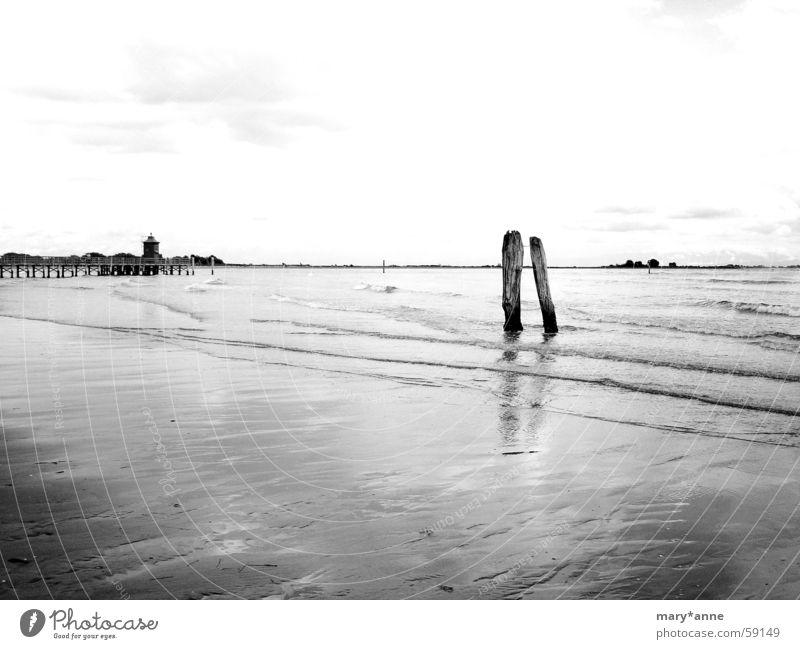 Bella Italia Ocean Lignano Beach Low tide Lighthouse black&white