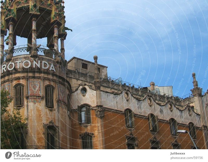 Old House (Residential Structure) Street Colour Window Building Brown Facade Tower Spain Barcelona Blue sky Villa Ochre Catalonia Rotunda