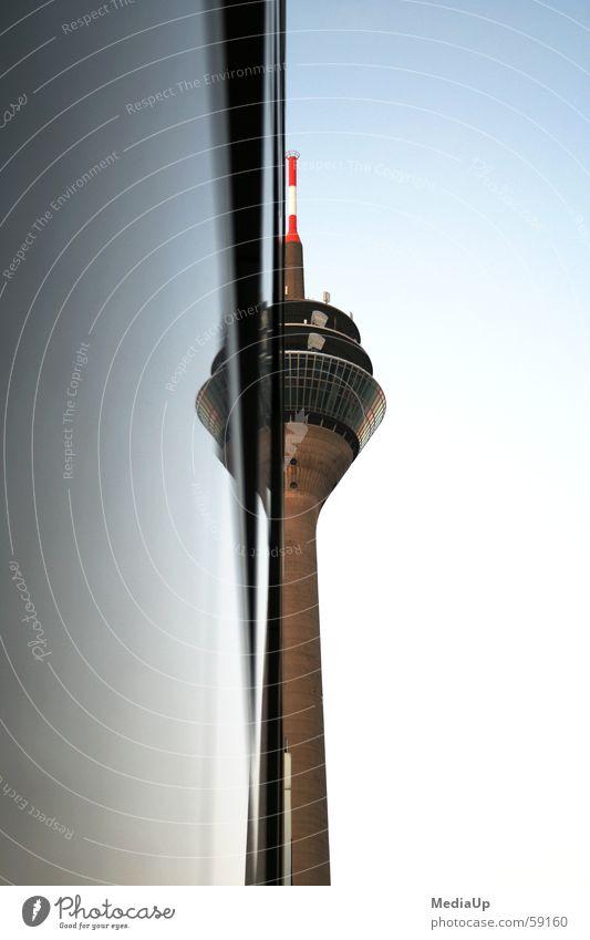 Rhine Tower Düsseldorf Medienhafen Mirror Rheinturm Half Store premises Data transfer Antenna Manmade structures Media Duesseldorf Work and employment spieglung