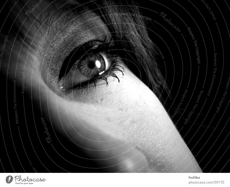 What do you see? Black White Light Eyelash Woman Dream Make-up Mascara Eyes Face Hair and hairstyles Nose Shadow Looking