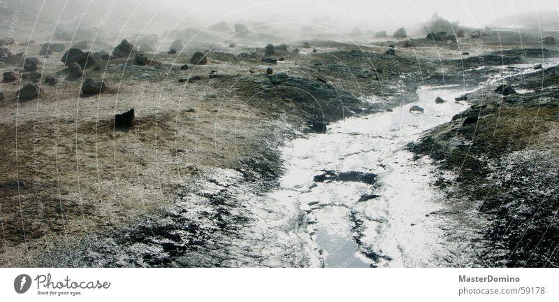 water on the moon Gravel Brook Fog Badlands Lunar landscape Uninhabitable Exterior shot Mývatn Iceland Solfatarenfeld Stone Landscape Water Steam Rock Fragment