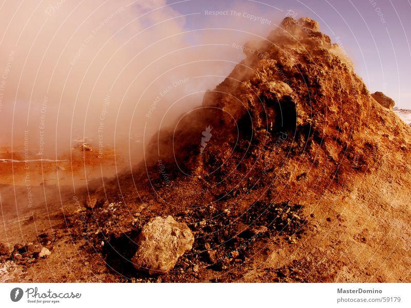 Sky Blue Red Mountain Stone Rock Hot Hill Smoke Digital photography Steam Sparse Martian landscape Fragment Sulphur Lunar landscape