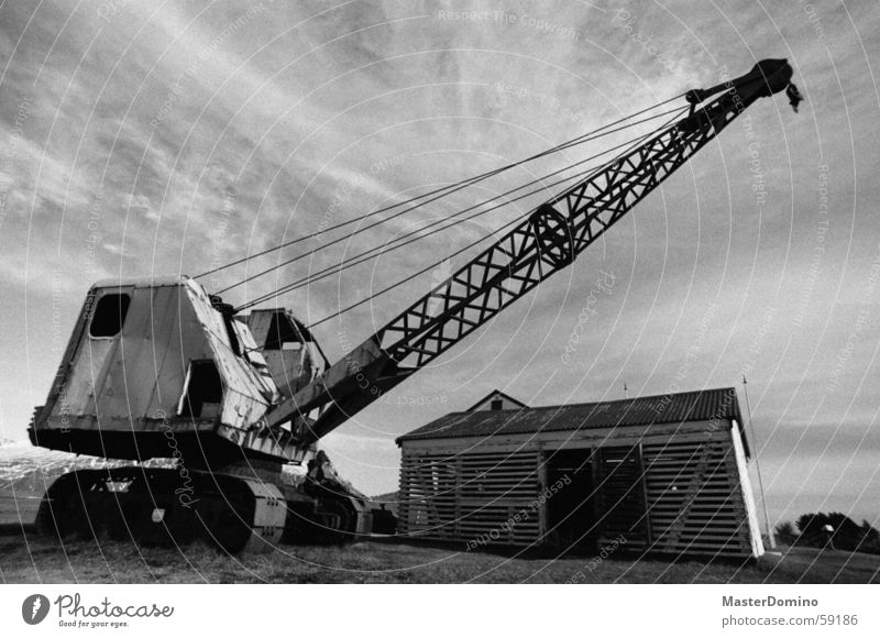 Old Sky House (Residential Structure) Clouds Grass Metal Arm Construction site Derelict Wheel Hut Rust Machinery Chain Vehicle Crane