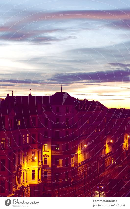 Evening mood. :) Town Old town House (Residential Structure) Contentment Longing Homesickness Skyline Residential area Roof Vantage point Roof terrace