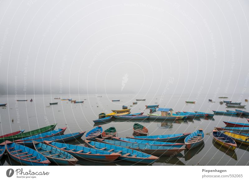 Nobody there in the fog Environment Nature Landscape Water Clouds Horizon Weather Bad weather Fog Waves Coast Lakeside River bank Navigation Boating trip