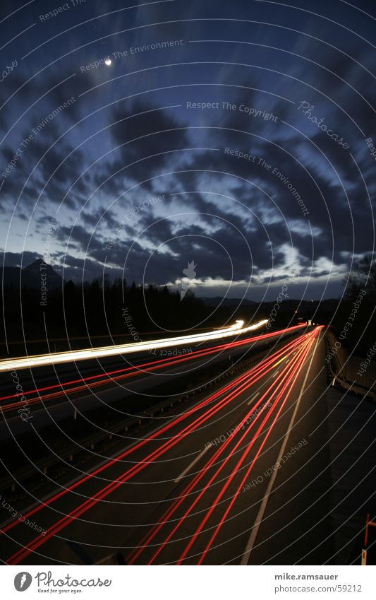 White Red Clouds Street Line Stars Transport Speed Driving Highway Floodlight Haste