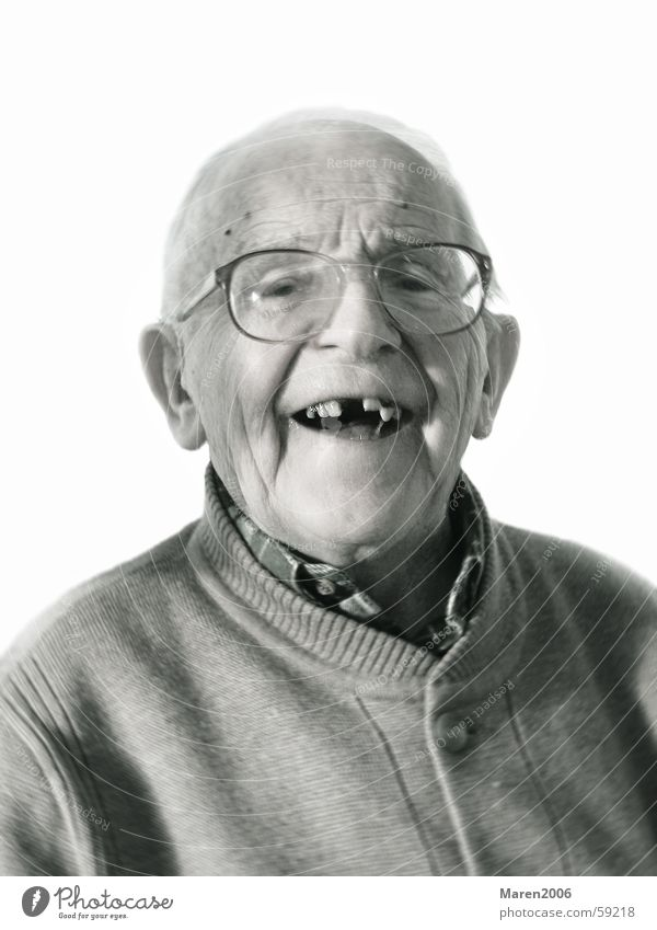 Grandpa's 95ster Portrait photograph Man Eyeglasses Joie de vivre (Vitality) Senior citizen Bald or shaved head Face Human being Laughter Funny Joy Teeth