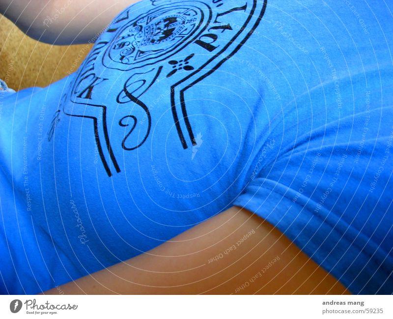 blue Blue T-shirt Screen print Top Arm Pressure