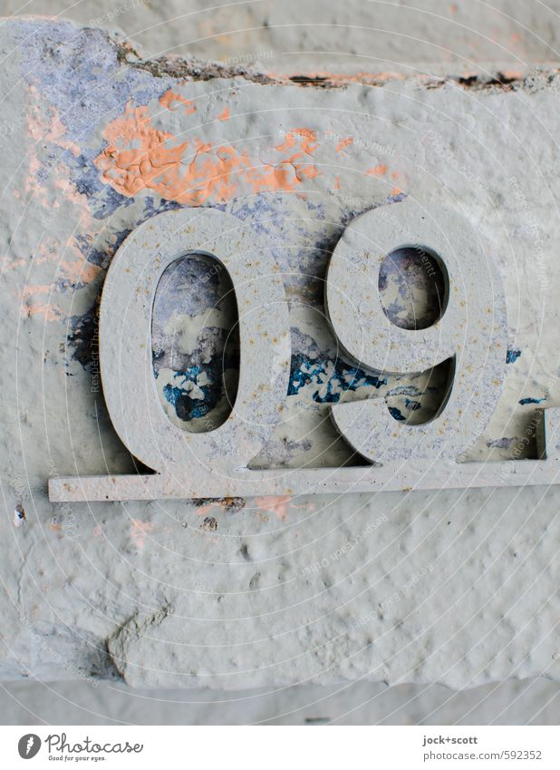 09 magic number Colour Graffiti Style Gray Time Moody Design Elegant Concrete Creativity Simple Culture Digits and numbers Historic Past Peace