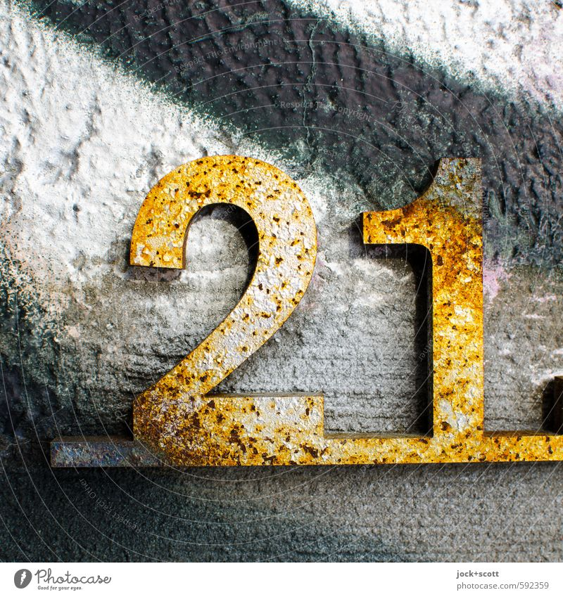 21 Lucky number Culture Monument The Wall Concrete Graffiti Glittering Positive Gold Design Happy Style Transience Street art Rust Underlining Three-dimensional