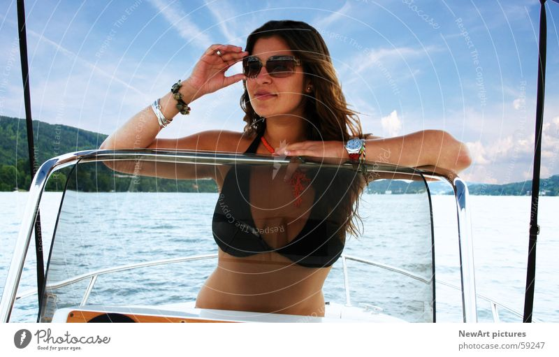 lake Summer Model Woman Vacation & Travel Bikini Sunglasses Watercraft Lake Physics Waves Eroticism Breasts Body Warmth