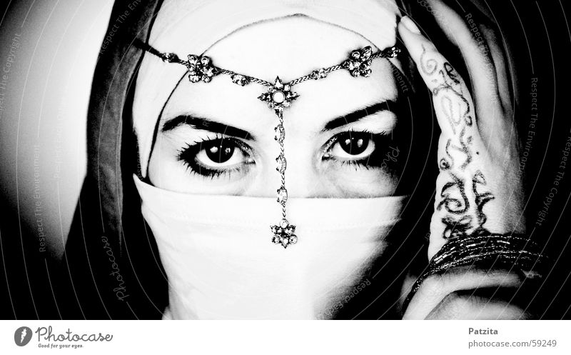 indian princess Woman Portrait photograph India Black White Hand Vail Jewellery Necklace Headwear Near and Middle East Face Eyes Human being Looking Rag