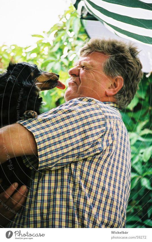Man Dog Friendship Kissing Disgust Tongue Dachshund