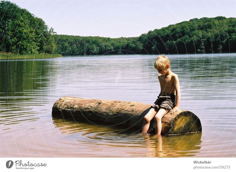 Child Water Sun Summer Vacation & Travel Calm Relaxation Boy (child) Wood Happy Lake Contentment Break Peace Swimming & Bathing Home country