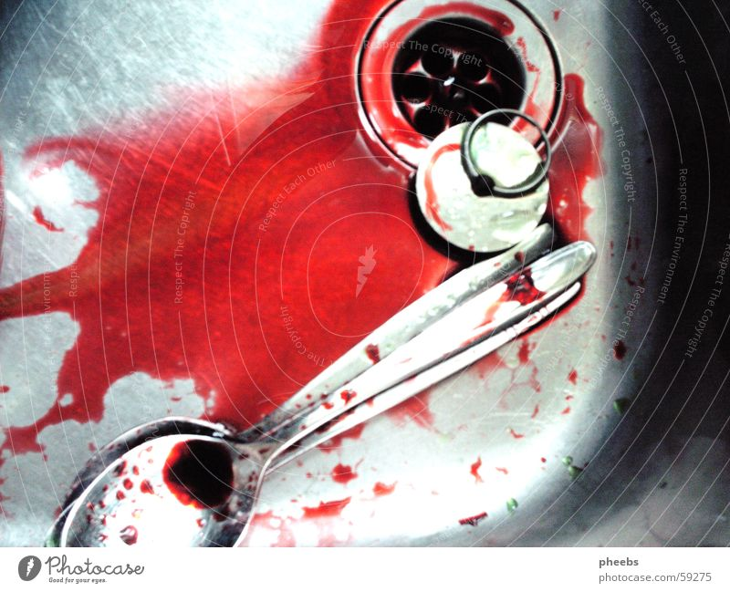 Red Colour Glittering Drops of water Blood Murder Spoon Do the dishes Kitchen sink Dyeing High-grade steel