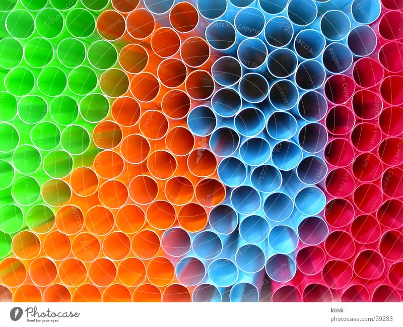 Green Blue Red Colour Orange Circle Pipe Vista Straw