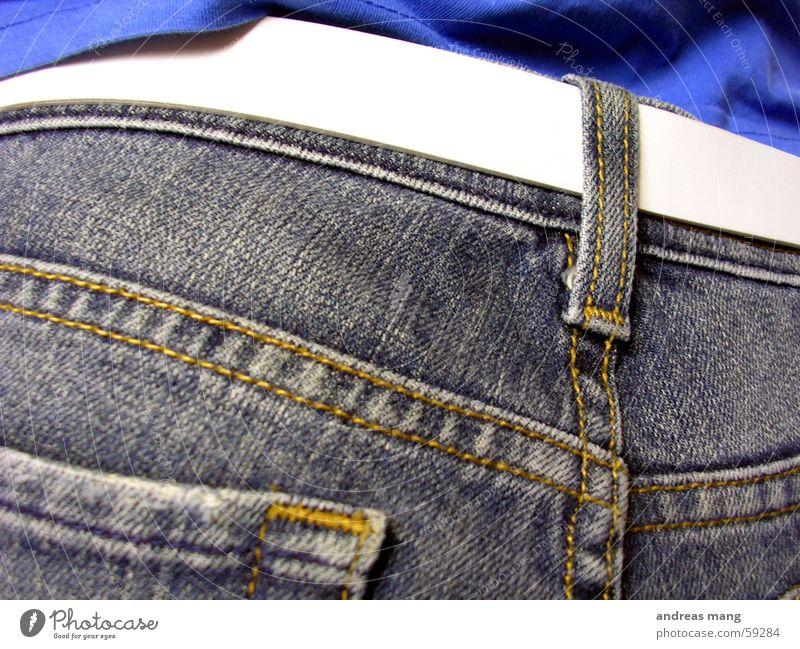 White Jeans Pants Belt Stitching Strait