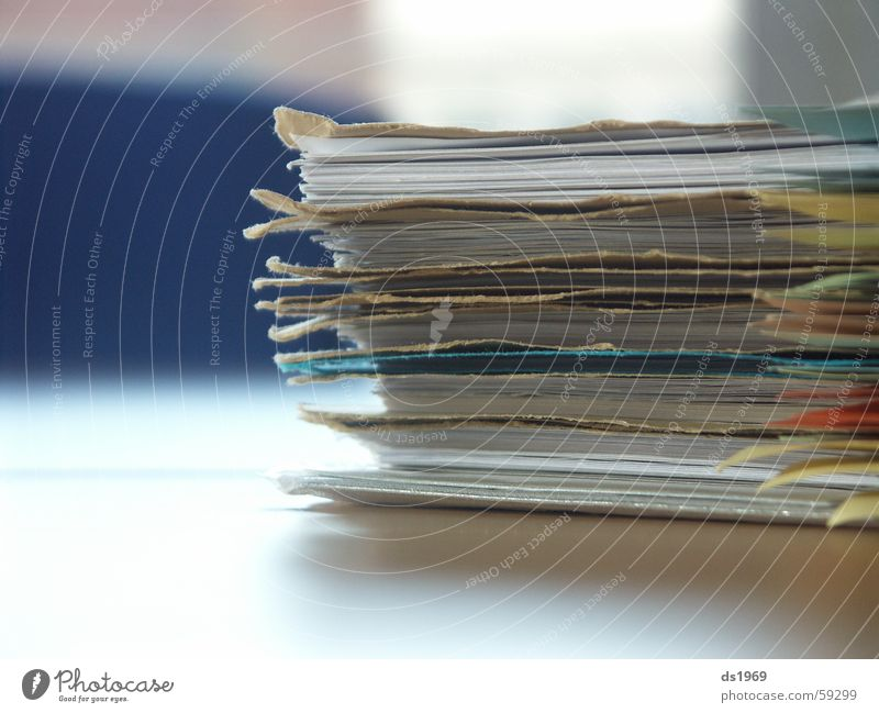 mountain of files Table Close-up Macro (Extreme close-up) Office File Blue Blur