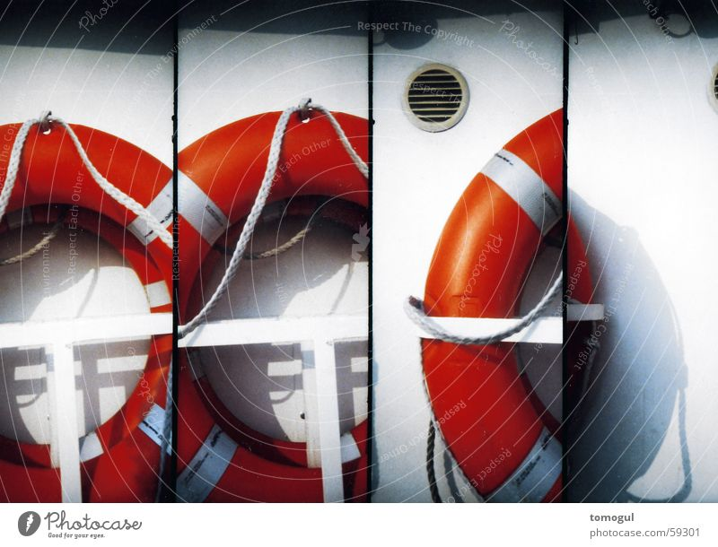 non-swimmer's glance Life belt Boating trip Navigation Watercraft Emergency Rescue Savior Lomography Emergency assistance Drown Help