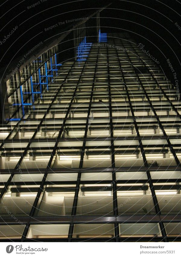 View upwards Facade Architecture Potsdamer Platz db Berlin Light High-rise Glass