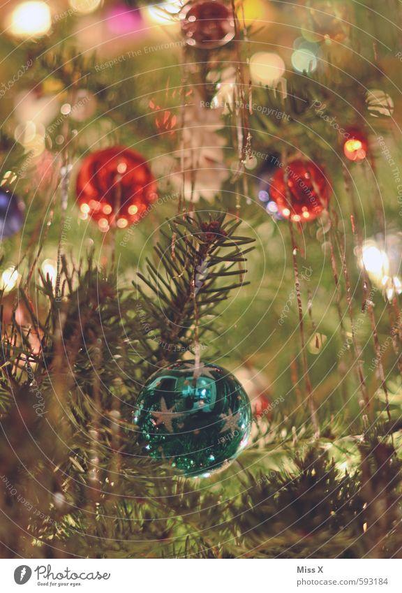 bright Decoration Christmas & Advent Tree Glittering Illuminate Kitsch Multicoloured Christmas tree Christmas tree decorations Glitter Ball Fir branch Tinsel