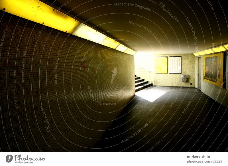 Yellow Lamp Dark Bright Stairs Tunnel Underpass