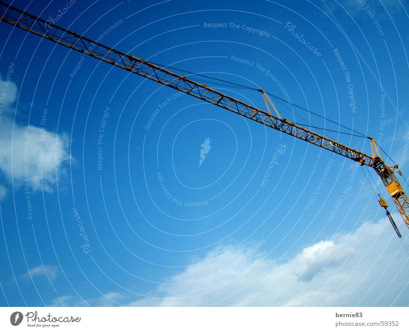 Sky Blue Clouds Yellow Work and employment Rope Construction site Steel Make Build Crane Pull Lift