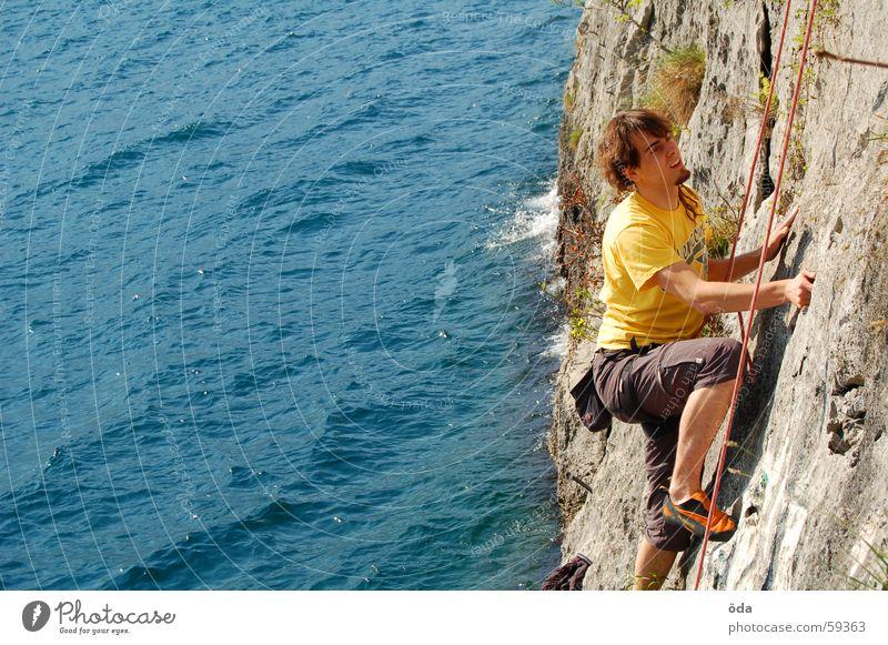 Man Water Blue Sports Wall (building) Mountain Movement Lake Rope Climbing Rescue Belt Lake Garda Climbing rope