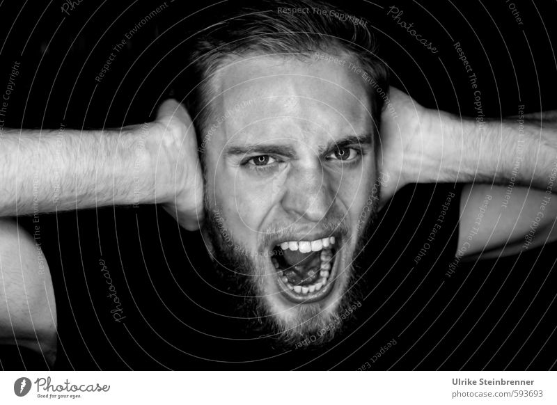 Human being Youth (Young adults) 18 - 30 years Young man Dark Adults Life Emotions Head Masculine Arm Mouth Threat Anger Facial hair Set of teeth
