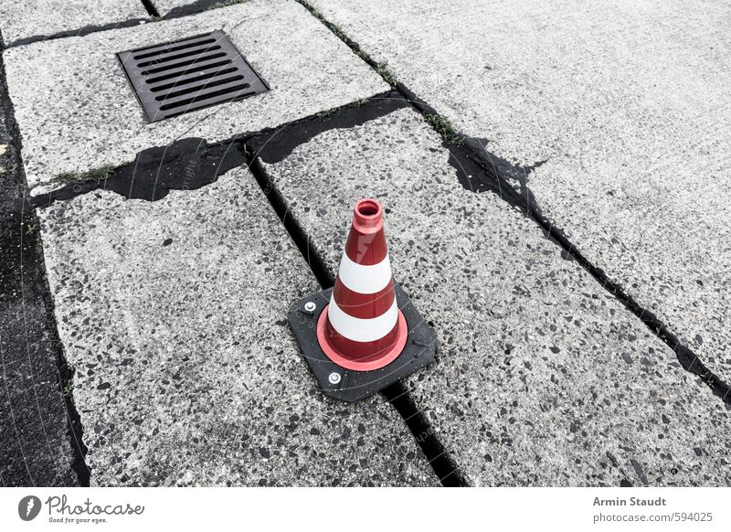 red and white cone at Tempelhof Airport Berlin Airport Berlin-Tempelhof Deserted Street Airfield Runway Stone Concrete Signage Warning sign Road sign Stand Old