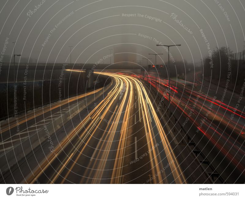 City Red Yellow Street Gray Gloomy Bridge Driving Traffic infrastructure Highway Capital city Tunnel Chimney Motoring