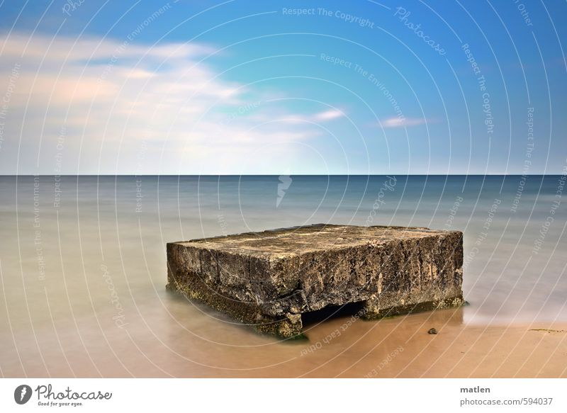 stage Landscape Sand Water Sky Clouds Horizon Sunlight Autumn Weather Beautiful weather Coast Beach Ocean Deserted Ruin Blue Brown White Dugout Colour photo