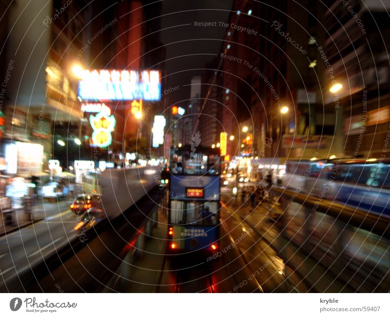 Movement China Transport Speed Asia Forwards Advertising Alcohol-fueled Traffic infrastructure Tram Hongkong Neon sign Left-hand traffic