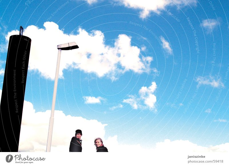 Lantern web No.4 Lamp Jetty Footbridge Clouds Woman Cap Blonde Friendship Progress Lighthouse Wittenberge Blankenese Sky Pole Elbe Blue sandra sina wag Sun