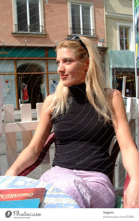 Woman City Beautiful Street Blonde Sit Table Café