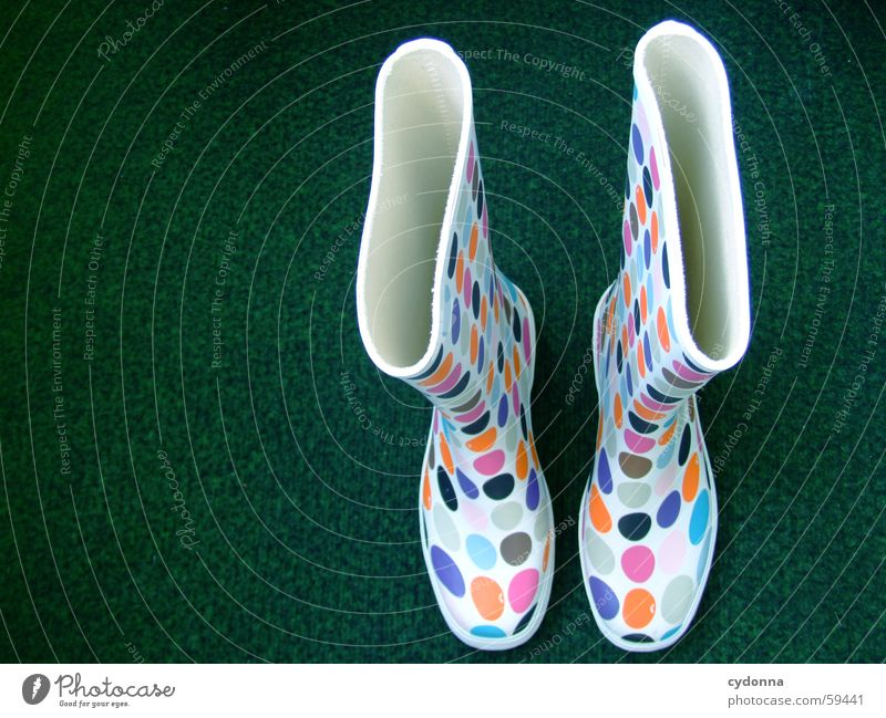 Retro Chic I Rubber Rubber boots Style Footwear Clothing Stand Things Funky Multicoloured Bird's-eye view Slip into Artificial lawn Point Colour Weather