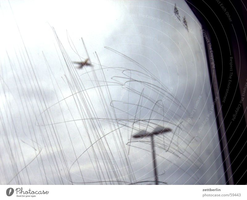 Window Airplane Airport Airplane landing Pane Scratch mark