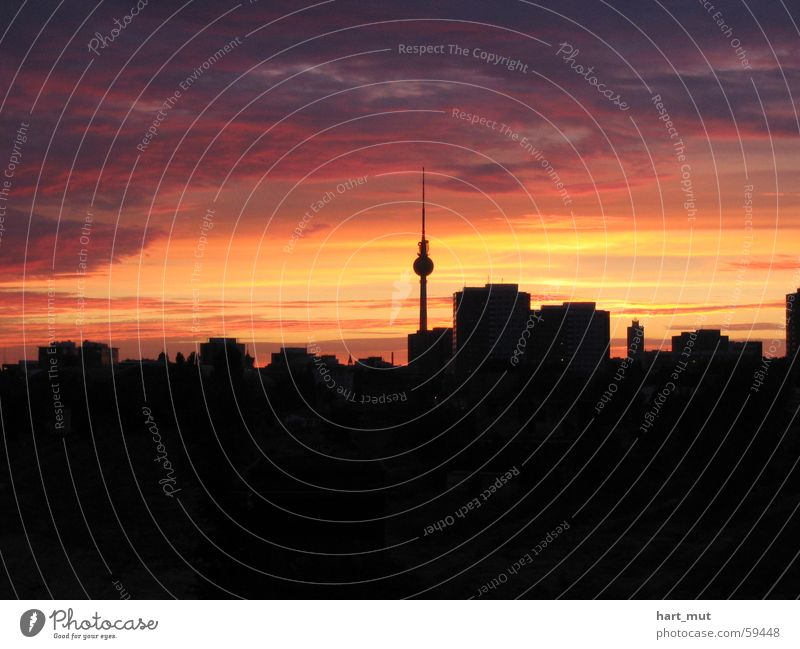 Sky Clouds Dark Berlin Pink Soft Delicate Skyline Smooth Berlin TV Tower Hard Alexanderplatz