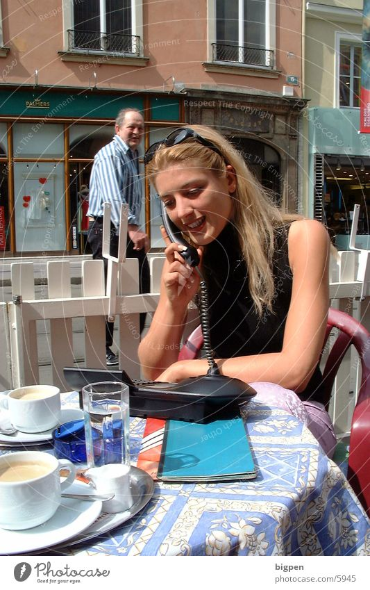 Woman City Beautiful Street Blonde Sit Table Café