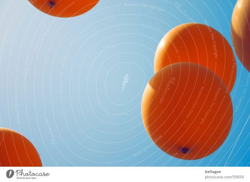 fly3 String Joie de vivre (Vitality) Balloon Flying Worm's-eye view Rubber Orange Blue Sky Aviation Rope Upward Knot